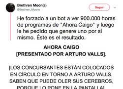 Enlace a Imagina que un bot viera 900000 horas de Ahora Caigo y tuviera que generar uno... el resultado sería esta maravilla surrealista, por @Brethren_Moons