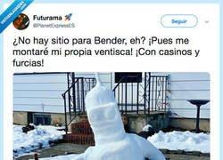 Enlace a El muñeco de nieve patrocinado por Planet Express @PlanetExpressES