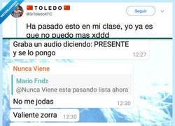 Enlace a A ver faltar a clase está mal pero si lo haces... que al menos tenga estilo, por @SrToledoKFC