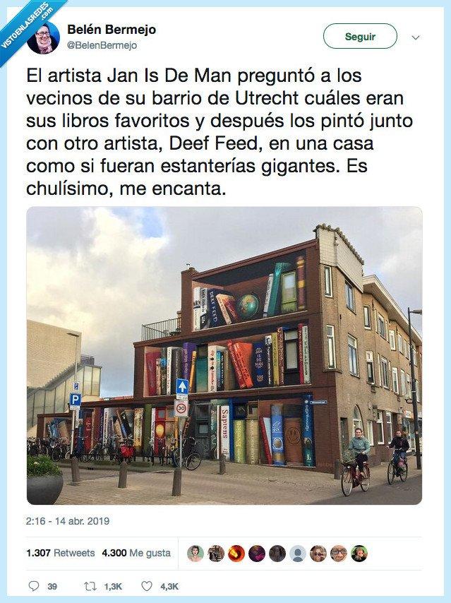 artista,libreria,mural,utrech