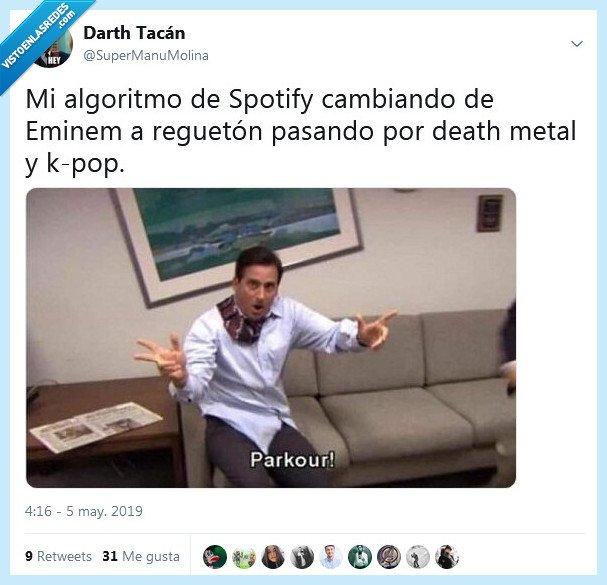 algoritmo,cambiar,música,parkour,spotify