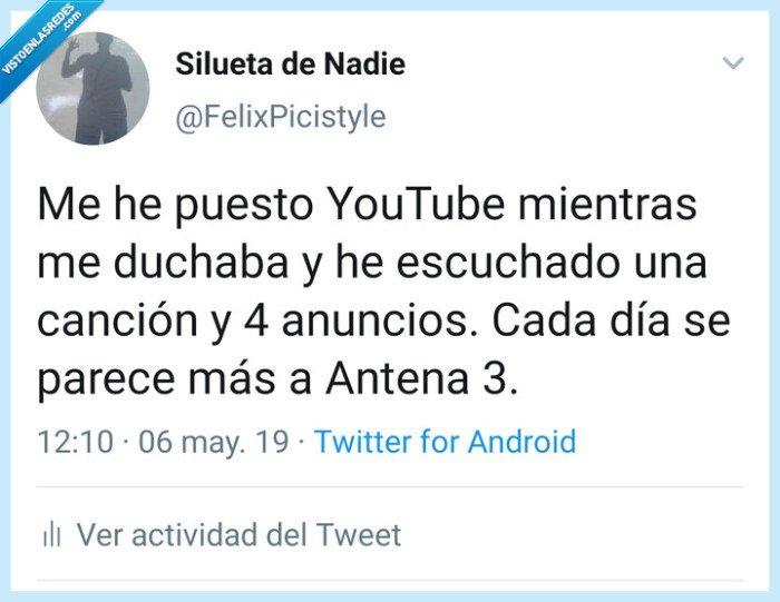 Antena 3,anuncios,YouTube