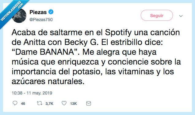 alimentación,banana,becky G,potasio,spotify,vitaminas
