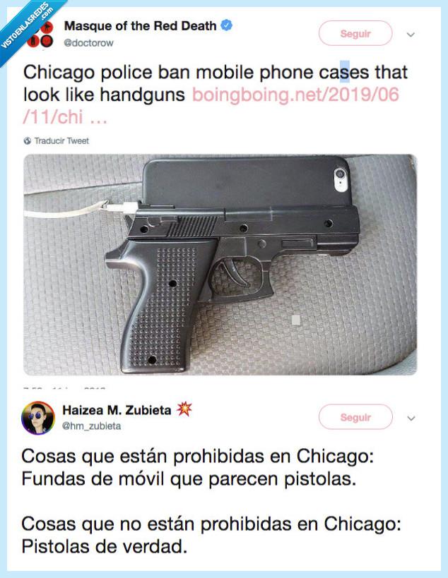 chicago,ERROR 404,funda movil,LOGICA,pistola
