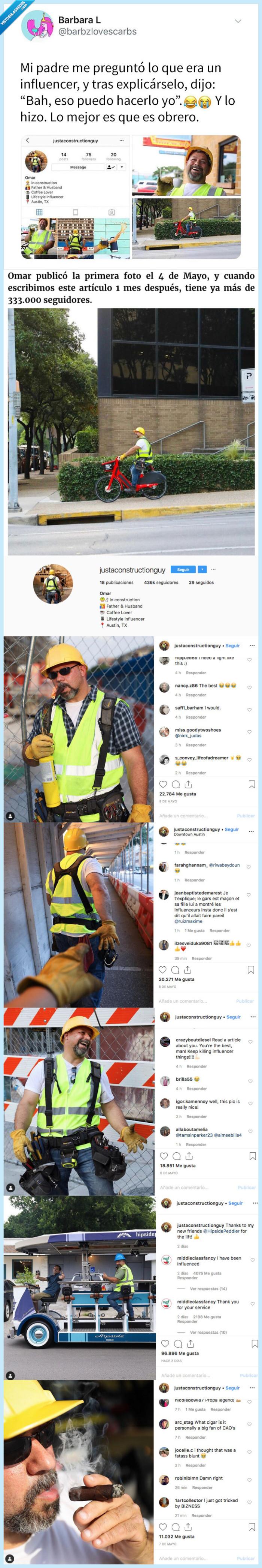albañil,influencer,lrey de instagram
