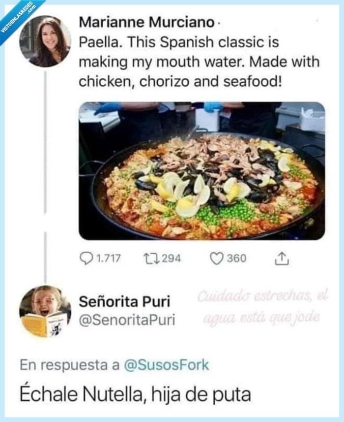 asco de paella,nutella,paella