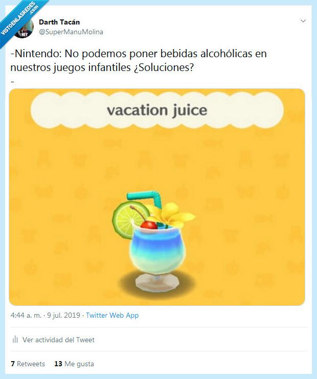 alcohol,nintendo,zumo de vacaciones