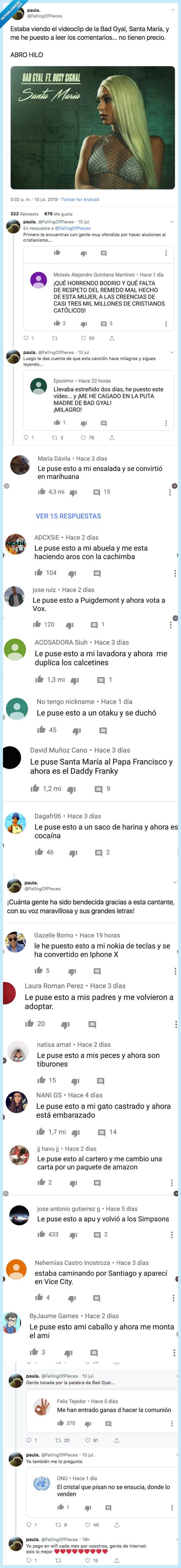 bad gyal,comentarios youtube,santa maria,video