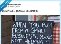 Enlace a Recuerda en la puerta de su tienda porque es importante comprar en el barrio