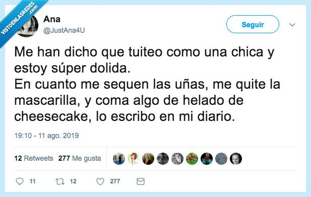cheesecake,chica,diario,mascarilla,tuitear,uñas