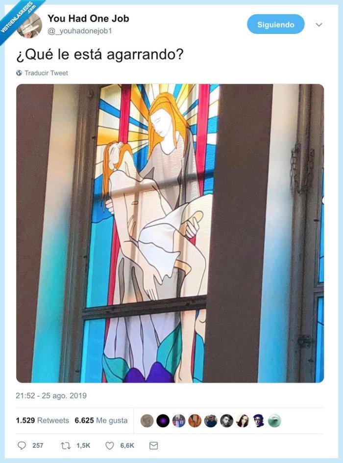 agarrar,miembro,mural,vidrio