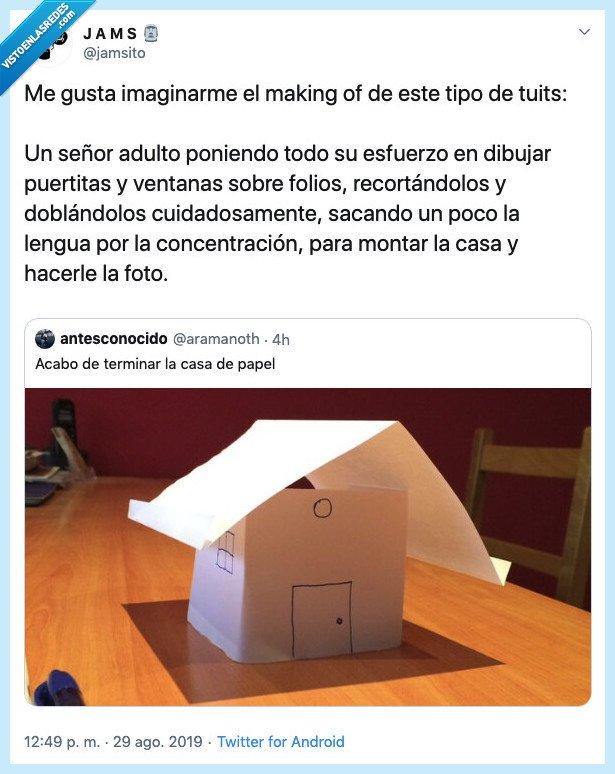 acabar,adulto,casa,casita,hombre,imaginar,la casa de papel,papel