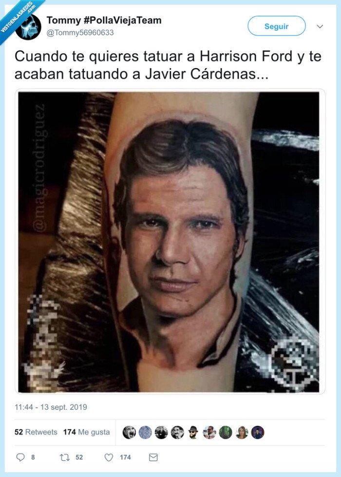fail,harrison ford,javier cárdenas,tatuaje