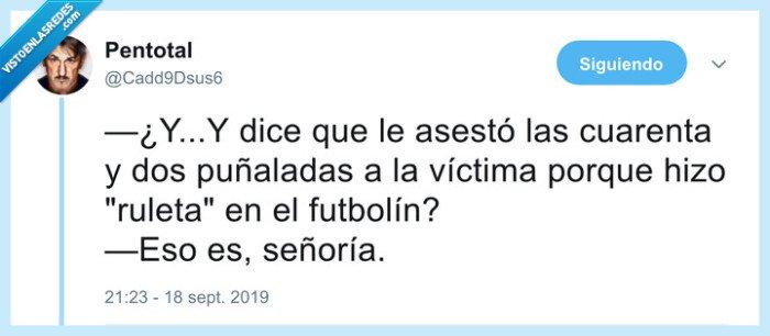 futbolín,ruleta,victima