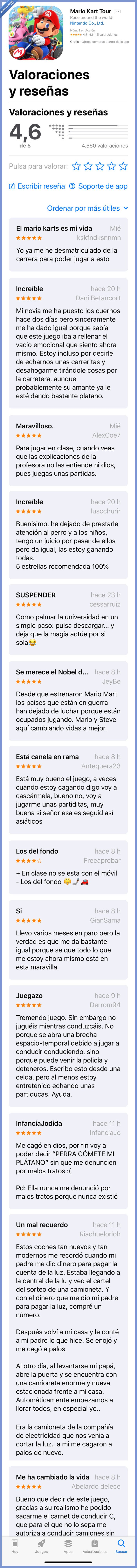 mario kart,movil,reviews