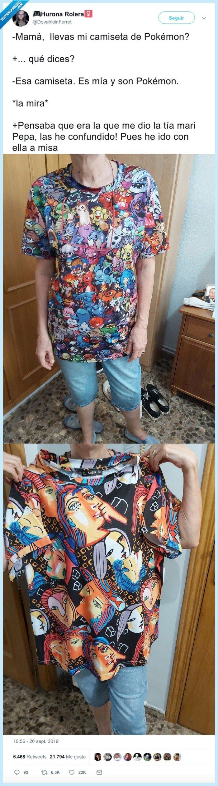 camiseta,madre,misa,pokemon