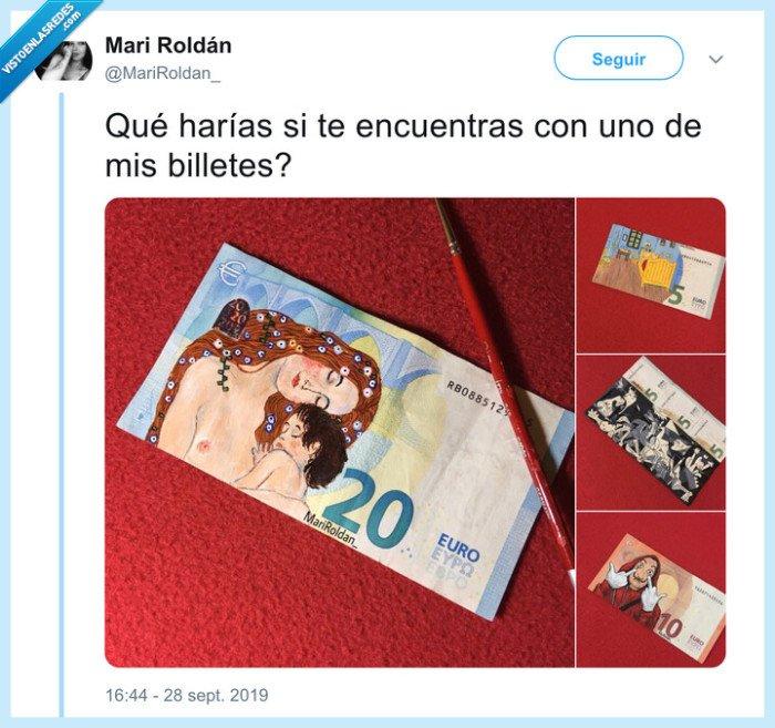 arte,billetes,pintados