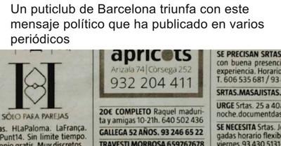 528316 - Aplausos por el mensaje político en la publicidad de un club de alterne de Barcelona
