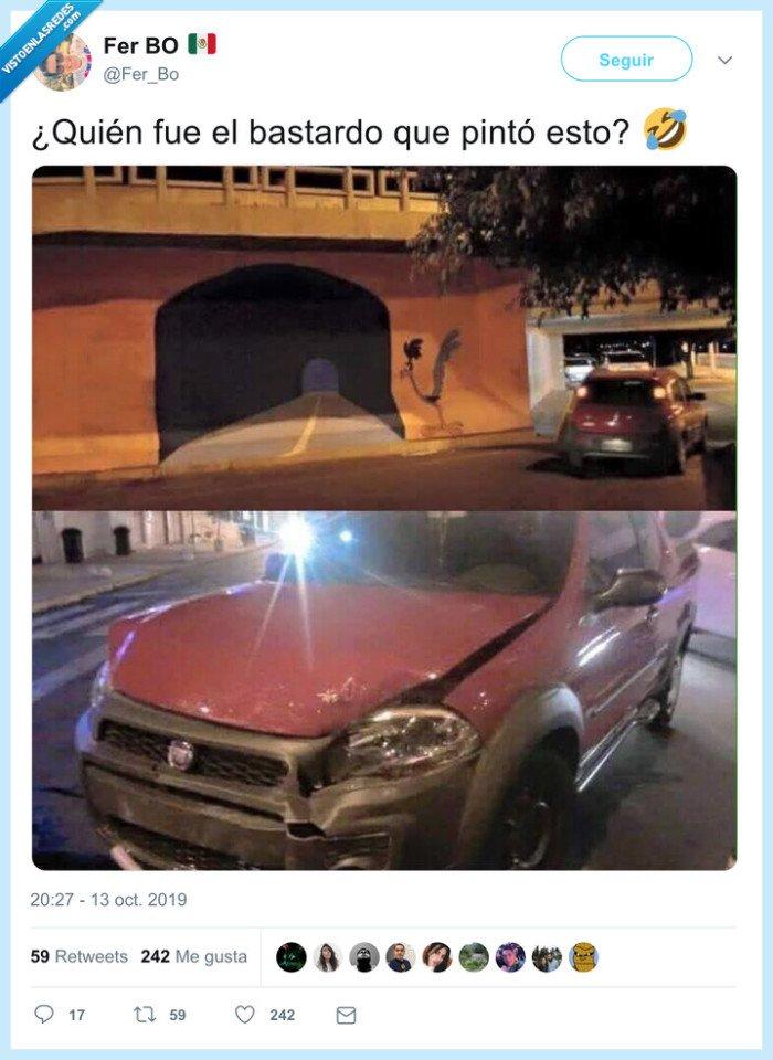 choque,correcaminos,pared,tunel