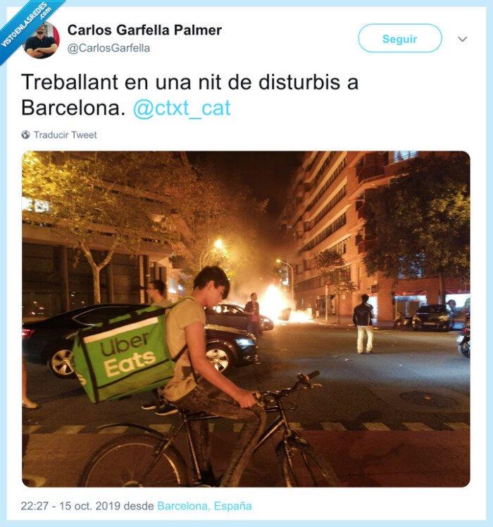 disturbios,repartidor,uber eats,vergüenza