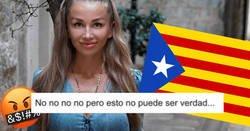 Enlace a La gente flipando con la Dulceida rusa, que está en Barcelona haciéndose fotos en los disturbios