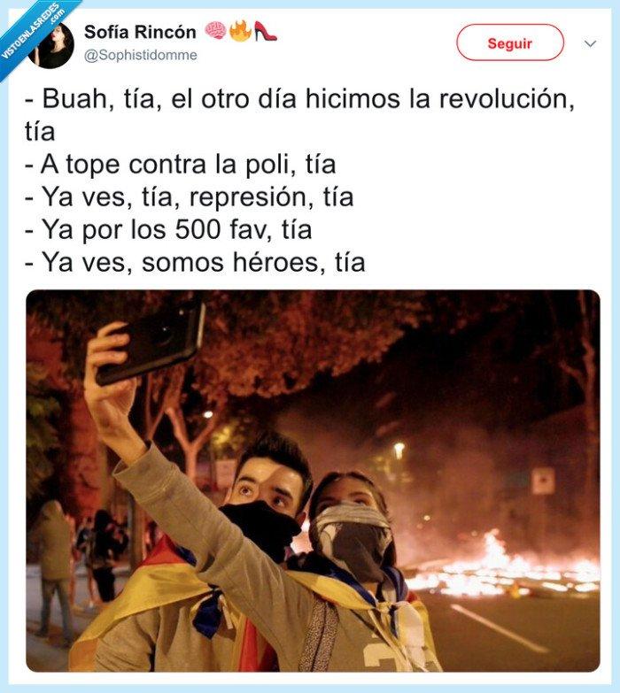 barcelona,disturbios,fotos,selfie