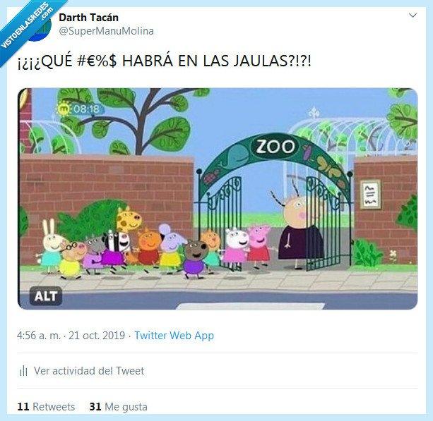 animales,jaula,pepa pig