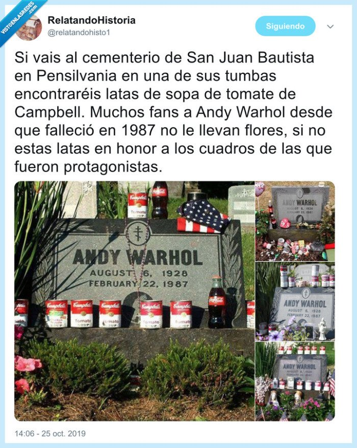 andy warhol,campbell,cementerio,lata