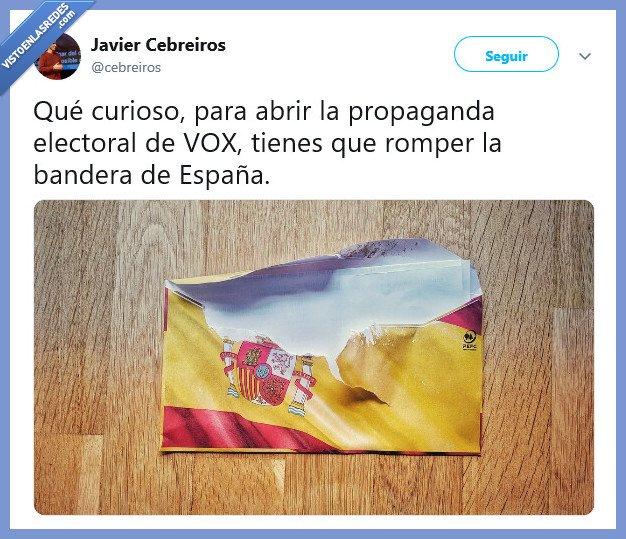 bandera,España,propaganda,romper,vox