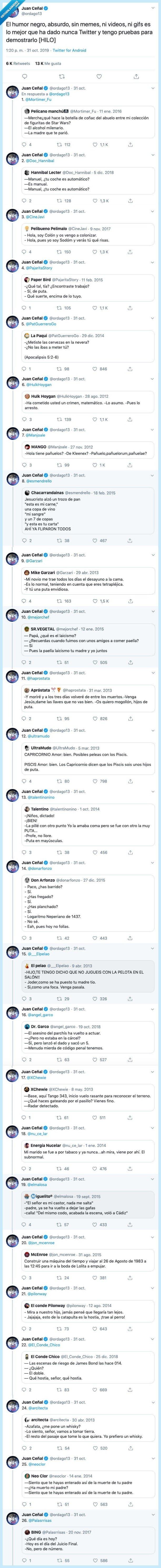 530809 - Juan Ceñal ha hecho una recopilación de Tweets de humor negro y absurdo y estamos partiéndonos por @ordago13