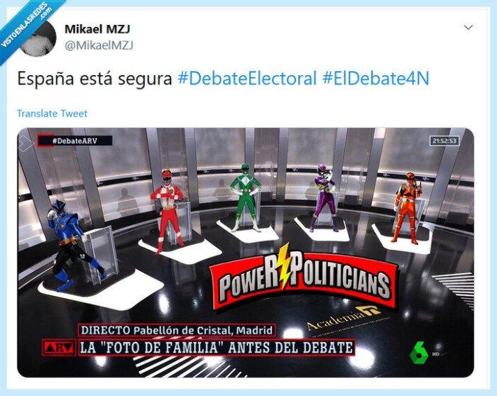 4n,Debate,electoral,España,politicos,Power Rangers