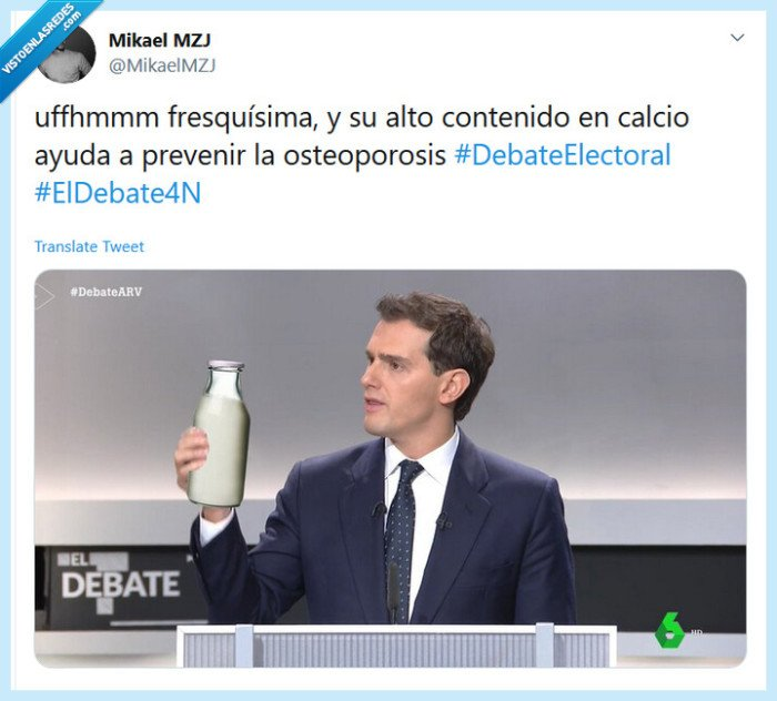 Albert Rivera,beber,botella,calcio,debate,fresco,leche,sano