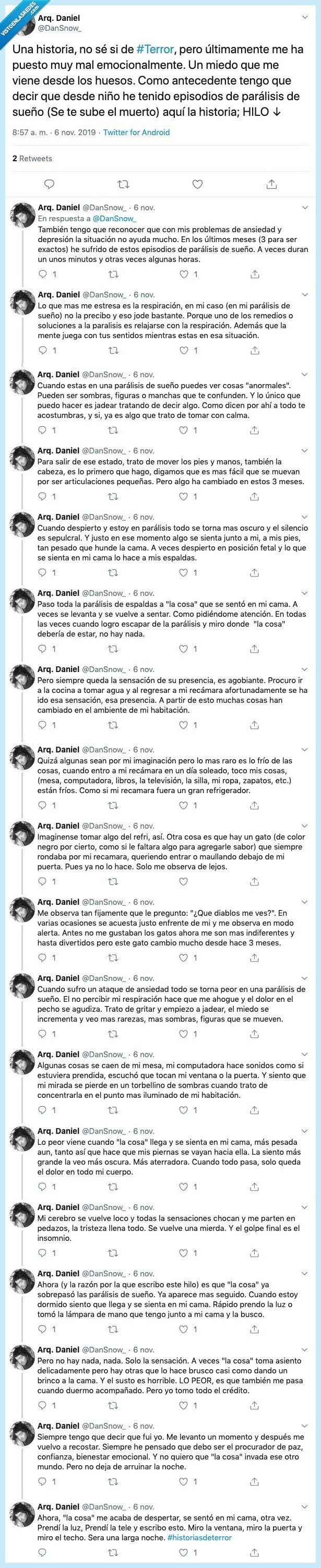 historia,Historia de terror,miedo,paralisis,sueño,twitter