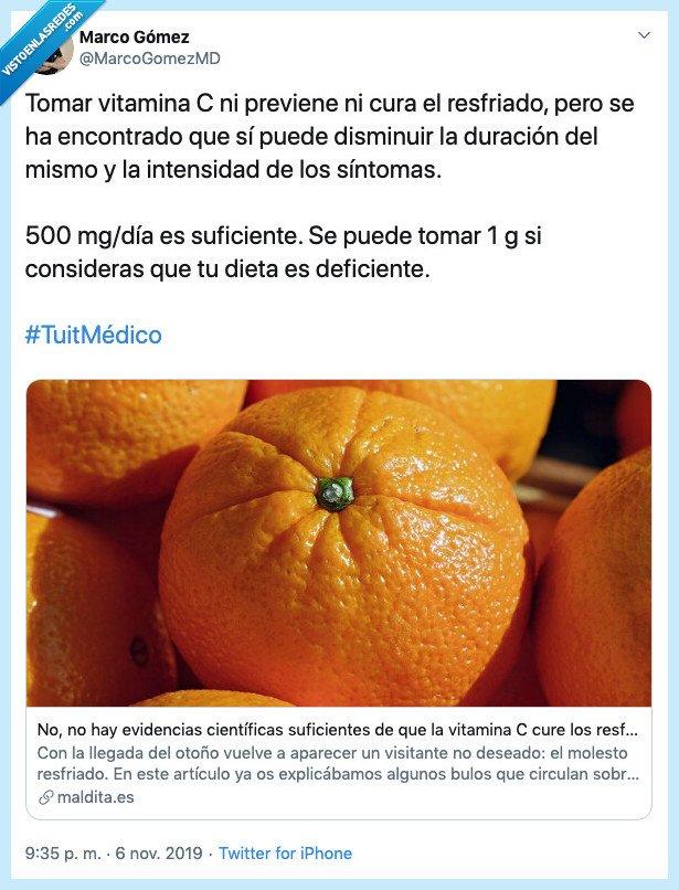 medico,naranja,resfriado,vitamina c