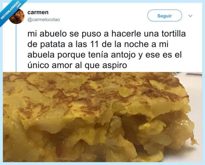 abuelos,amor,tortilla de patatas