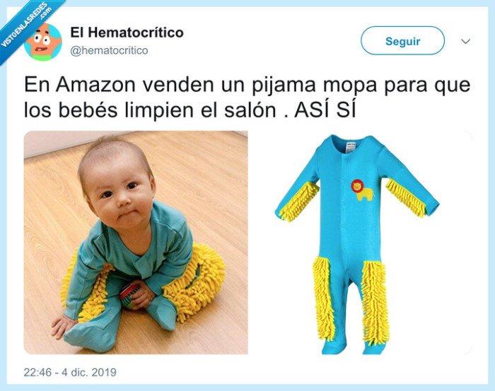 bebé,limpiar,mopa,pijama,suelo