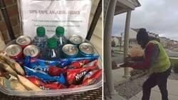 Enlace a La reacción de un repartidor al ver que una mujer le ha dejado una cesta con aperitivos en la puerta de su casa