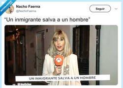 Enlace a Un inmigrante salva a un hombre y un tontaina escribe el titular, por @NachoFaerna