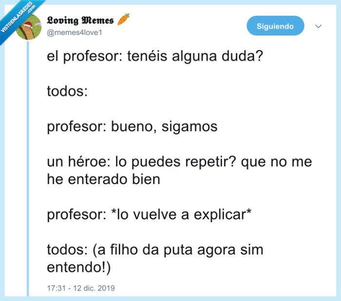 explicar,héroe,profesor,repetir