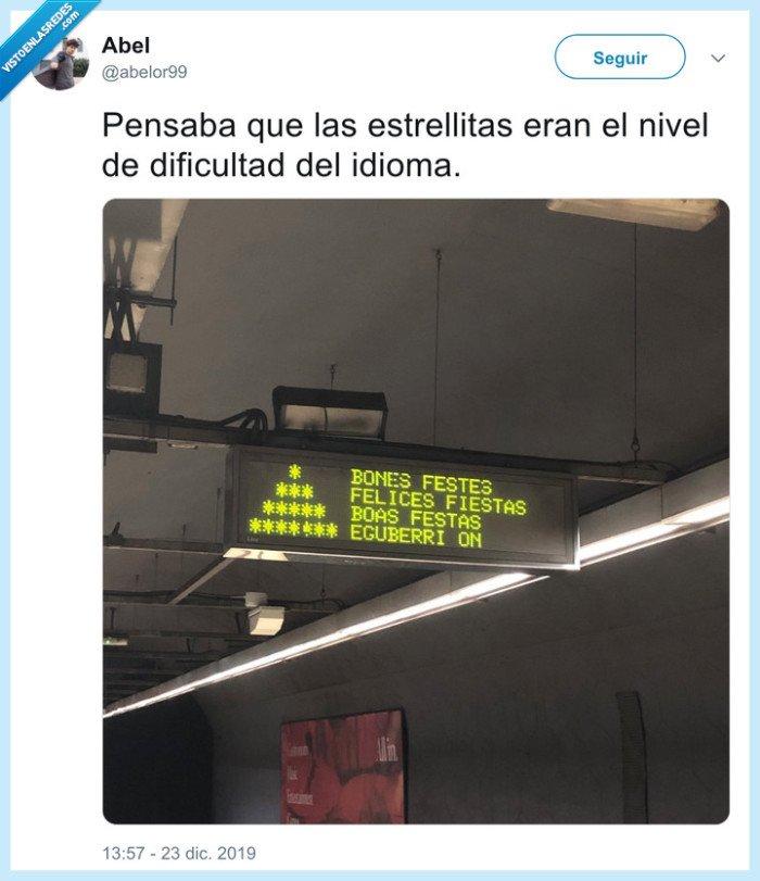 euskera,fin de año,gracia,idiomas,meme,metro,metro barcelona,navidad,nivel dios,niveles,risa,twitter
