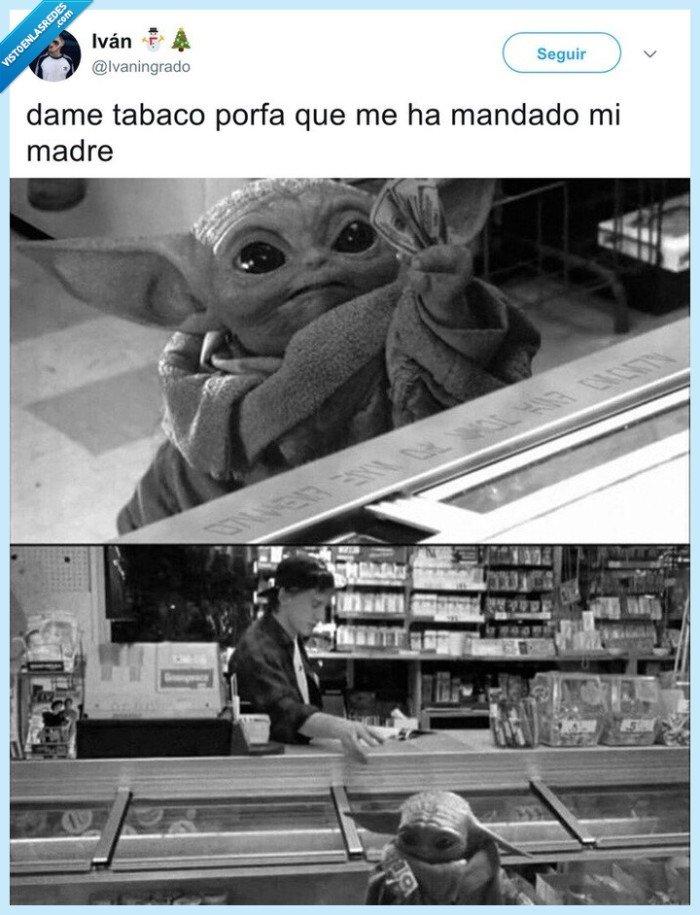 baby yoda,comprar,de niño,tabaco