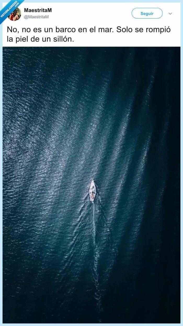 barco,ilusion óptica,mar,sillón roto
