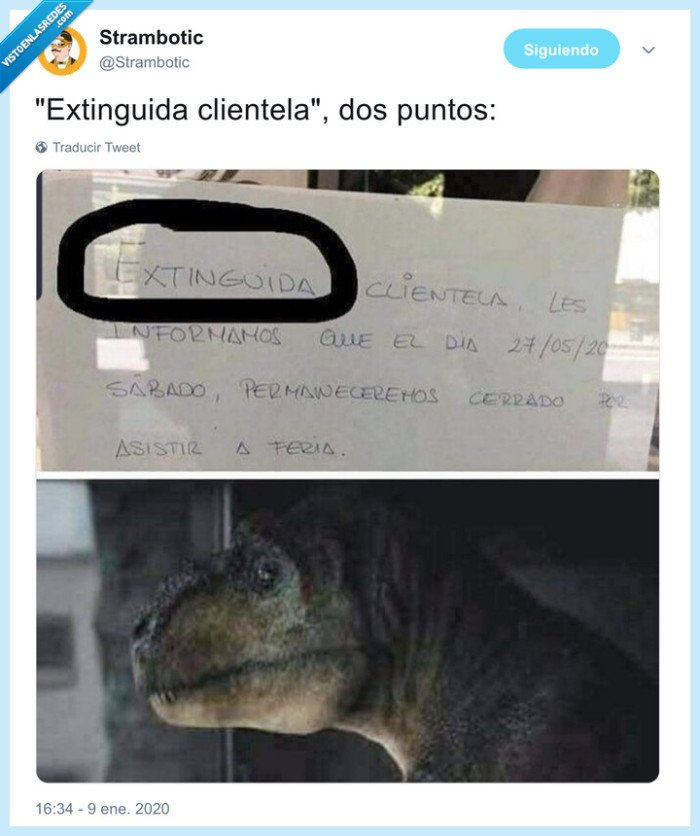 cartel,clientela,dinosaurio,extinguida
