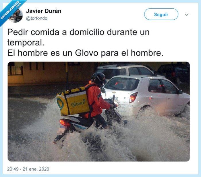 agua,glover,glovo,inundación,moto,precario