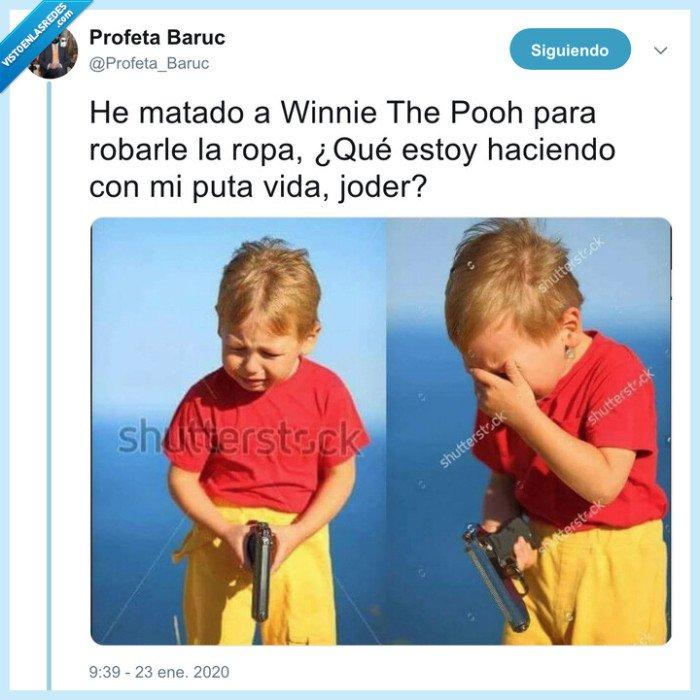 niño,pistola,robar,ropa,winnie the pooh