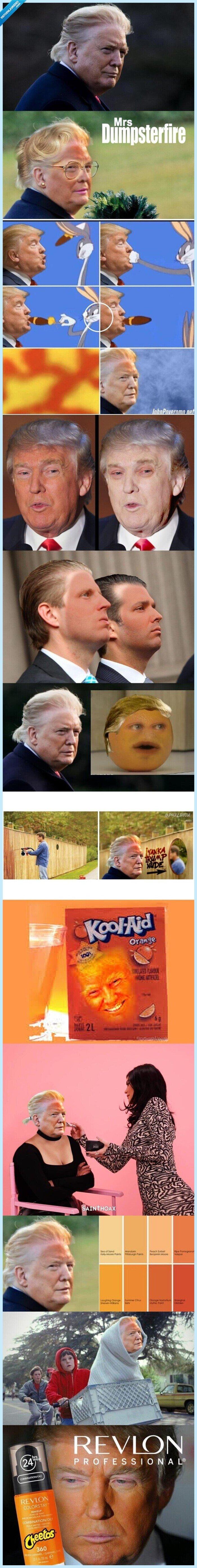 cara naranja,donald trump,memes,recopilación