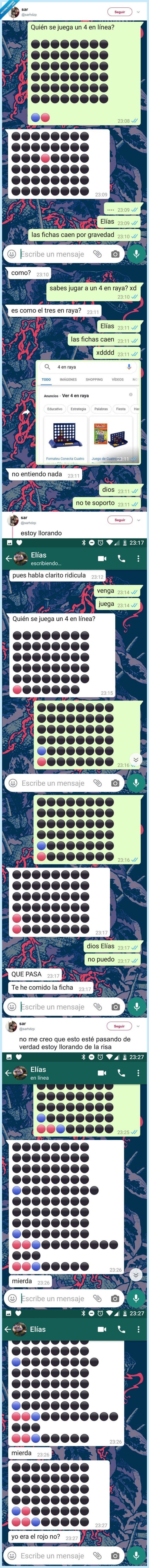 4 en línea,4 en ralla,juego,whatsapp