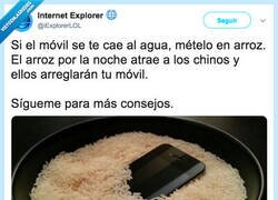Enlace a El motivo de por qué el arroz arregla los móviles que caen en agua, por @iExplorerLOL