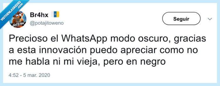 actualización,app,mensajería,modo,modo oscuro,night,night mode,oscuro,whatsapp