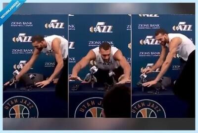 542958 - El tonto de la NBA: Así bromeaba con el coronavirus, toqueteando micrófonos, el jugador de la NBA que después ha dado positivo